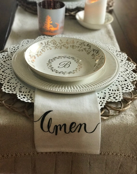 CUSTOM CALLIGRAPHY Cotton Napkins - Amen, Family, Gather or Wording of Your Choice - 16x16 Napkins / Wedding Napkins / Bridal Gift