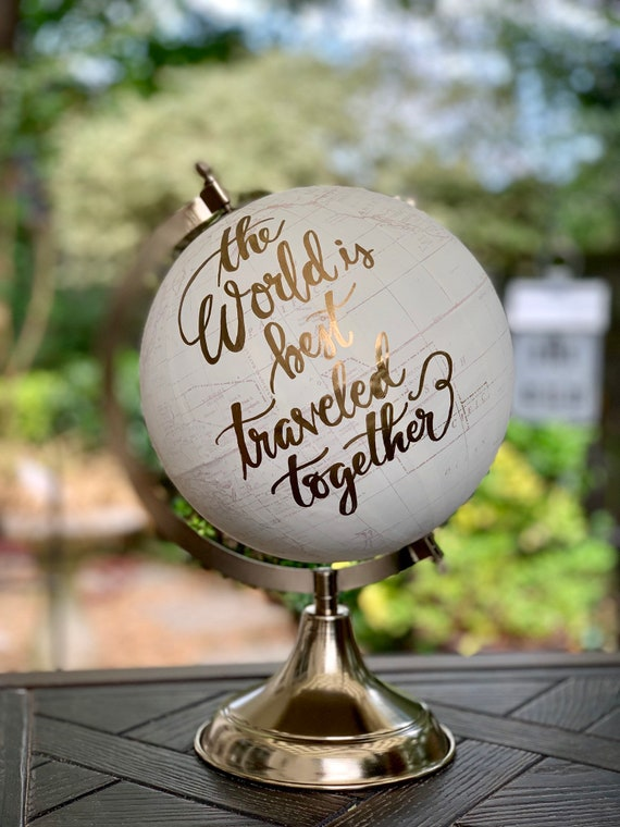 Custom Wedding Guestbook Calligraphy Globe / Choose Wording / Globe Finish in White and Gold Globe or Whitewashed  / Wedding Guestbook globe