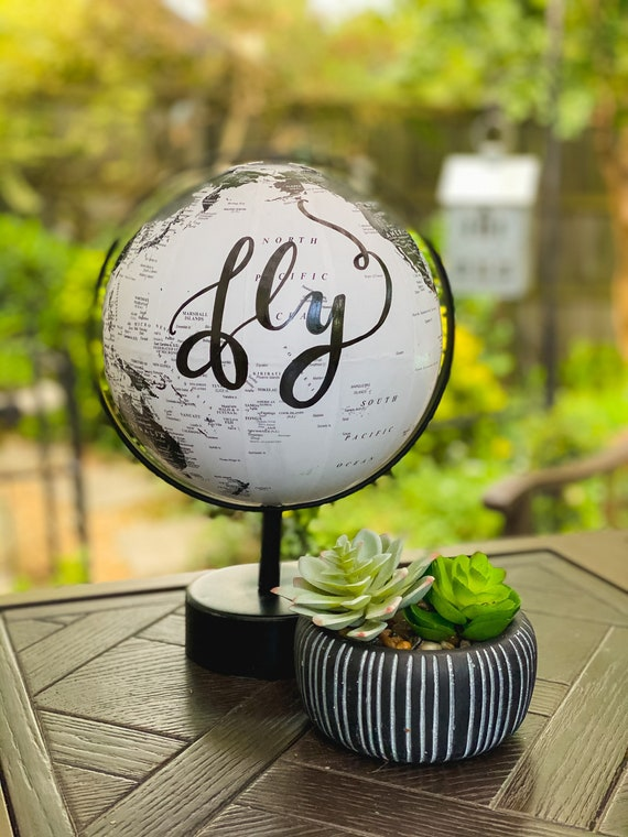 Black and White Wedding Guestbook Globe / Custom Calligraphy / White and Black Calligraphy Globe / Great for Guestbooks/Dads/Baby Nursery