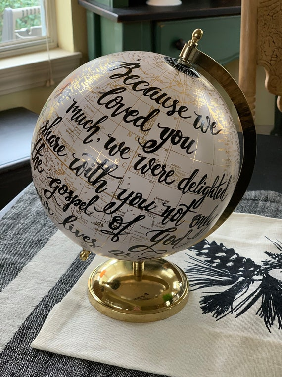 BLUSH PINK Medium-Sized Globe / Custom Calligraphy / For You Are God's Masterpiece OR other longer quote - Weddings/Baby Showers/Nursery