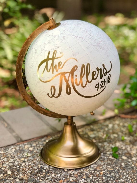 Custom Calligraphy Globe / Your Choice of Wording / Globe Finish in White and Gold Globe or Whitewashed Options / Wedding Guestbook/Nursery