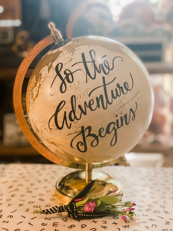 So the Adventure Begins White and Gold Wedding Guestbook Calligraphy Globe W/SHADED CONTINENTS /add date to this globe