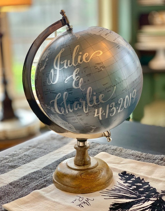 Custom Calligraphy Globe / Choice of Wording /Silver Blue and Gray Calligraphy Globe with Wooden Base / Custom Calligraphy Options Available