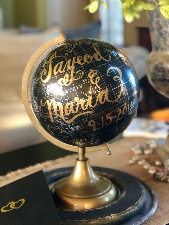 Custom Calligraphy Black Globe w/Silver countries - w/gold base - Your Choice of Wording / Calligraphy Globe / Wedding Guest Book/Nursery