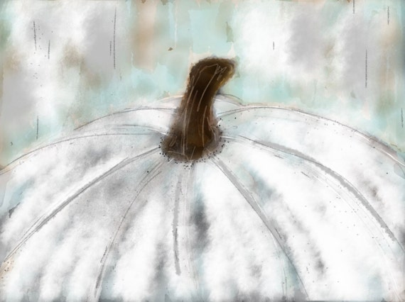 WHITE PUMPKIN LOVE Art Print / Original Painting Reproduced on Heavyweight Signature Card Stock - 8X10
