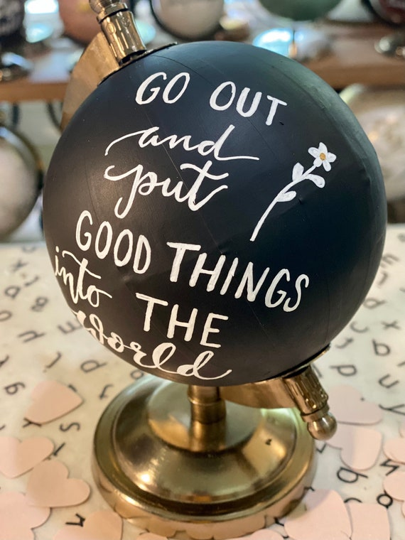 Mini Black Chalkpaint Globe - Perfect for Baby or Kid's Nursery, Baby Shower, Office Decor or Travel Theme - Customize