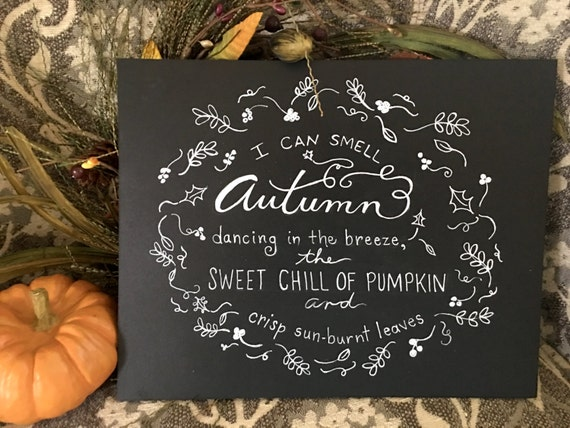 Autumn Dancing In the Breeze Custom Calligraphy Heavyweight Chalkboard Paper Art Print  / White Chalk Pen / Custom Made / Frame Available