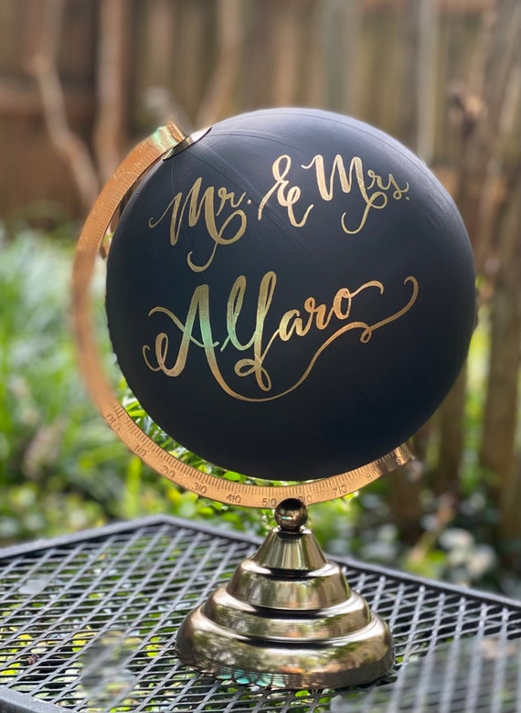 Custom Wedding Guestbook Calligraphy Globe / Black Chalkpainted Globe / Choose Custom Wording / Wedding Guest Book Globe / Nursery Globe