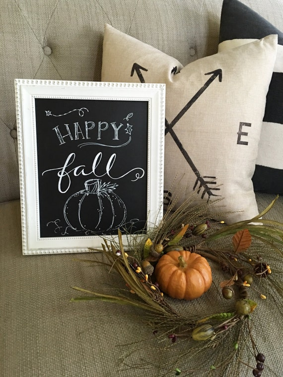 Happy Fall Custom Calligraphy Chalkboard Paper Art Print / Heavyweight Chalkboard Paper and Chalk Pen / Frameable