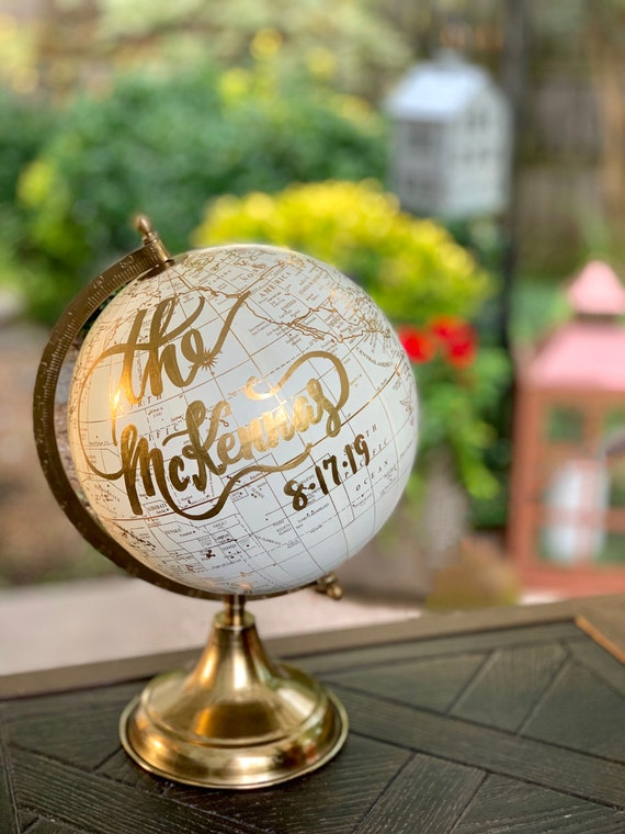 Custom Wedding Guestbook Calligraphy Globe / Choose Wording / Globe in White and Gold Globe or Whitewashed  / Wedding Guestbook/Nursery
