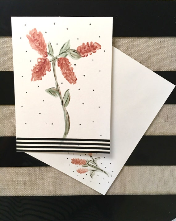 Original Handmade/Handpainted Watercolor Note Card / Thinking of You / Any Occasion Card  / Matching Watercolored Envelope