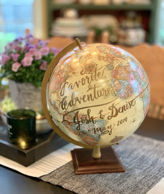 Large Beige/Cream with Colored Continents 12 Inch Globe w/Gold and Wooden Stand  / Custom Calligraphy Wording  / Wedding Guest Globe