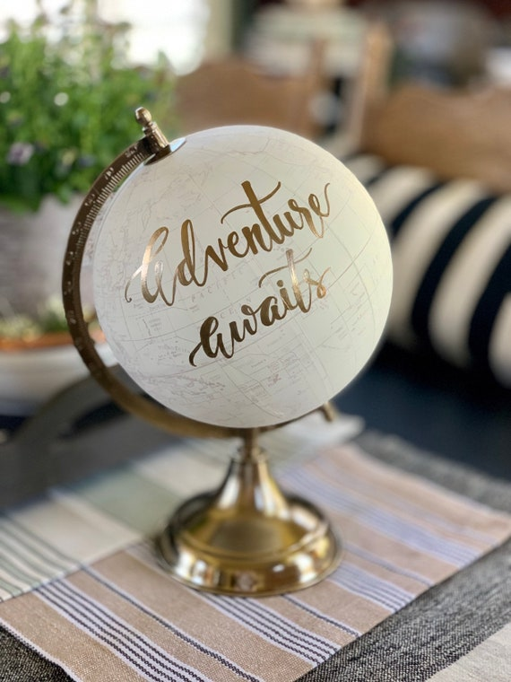 Wedding Guest Book Globe/WHITE WASHED w/Gold, Rose Gold or other color ink / custom calligraphy - Adventure Awaits