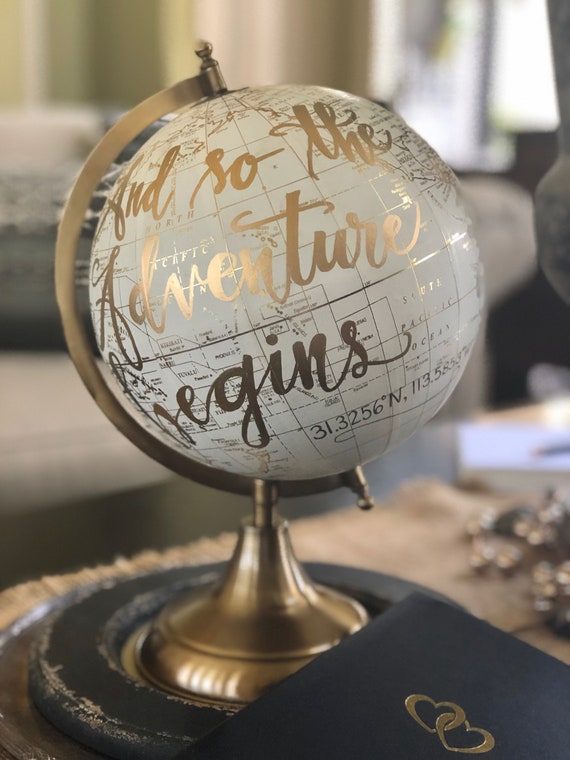 Custom Calligraphy Globe w/GEOGRAPHIC COORDINATES to memorialize your wedding destination/location / Your Choice of Wording / Globe Finish