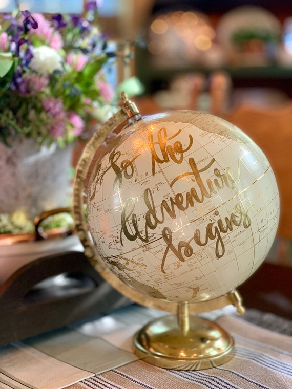 Custom White and Gold Wedding Guestbook Calligraphy Globe W/SHADED CONTINENTS / Choose Wording / Whitewashed  /Wedding Guestbook Globe