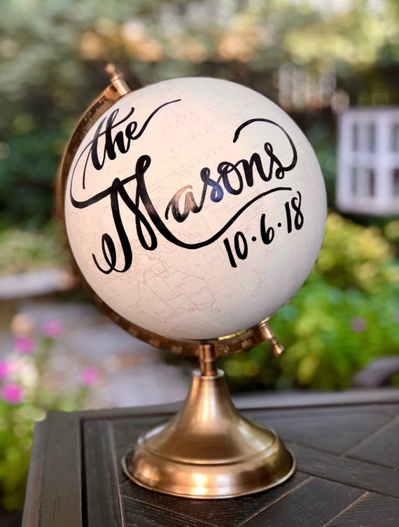 Custom Last Name Calligraphy Wedding Guestbook Globe / Choose Wording / White and Gold Globe or Whitewashed Options / Guestbook globe
