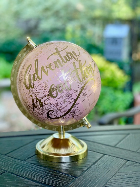 Small Pink and Gold Globe - Customize - Blush Pink Baby Girl Nursery Globe/Travel Theme Nursery/ Baby Shower  / choose ink