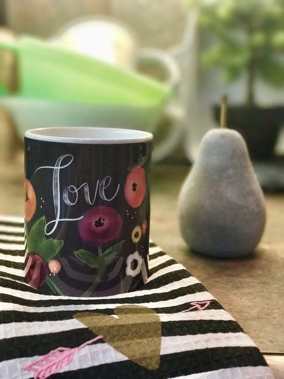 Chalkboard Inspired Floral LOVE Mug / Original Watercolor Design / 11 Ounce Mug