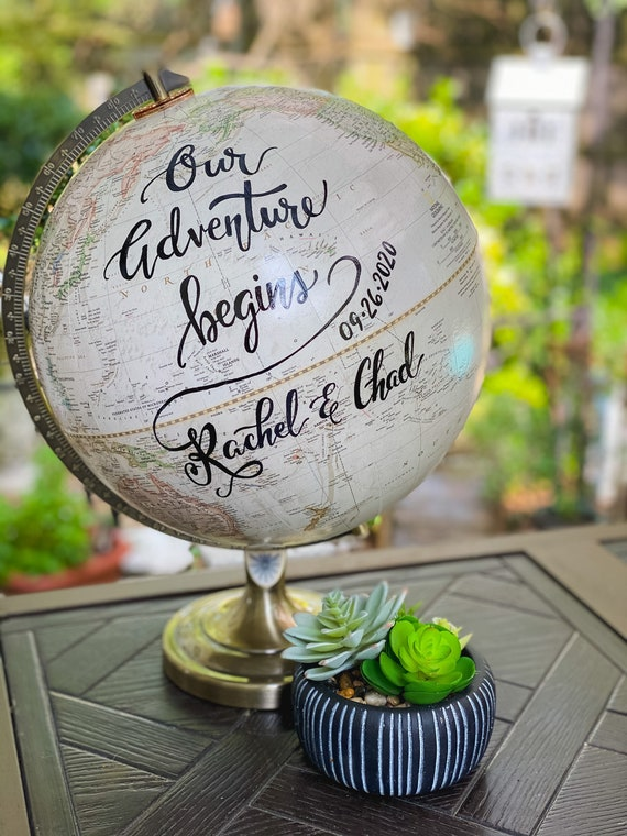 LARGE Guest Book Globe - 12 Inch Antique White/Cream Grosvenor World Wedding Globe Custom Calligraphy / Wedding Guest Globe, Guestbook Globe