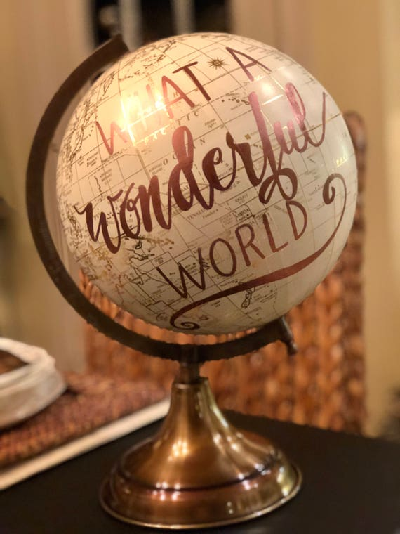 Custom Wedding Guestbook Globe / White and Gold Calligraphy Globe / Rose Gold or other ink color / Custom Wording / Custom Globe