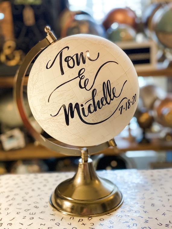 Custom Wedding Guestbook Calligraphy Globe / Choose Wording / White and Gold Globe or Whitewashed Options / Wedding Guestbook/Nursery Globe