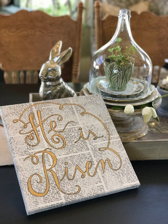 HE IS RISEN 12X12 Canvas Art - Custom Calligraphy - Easter - Faith - Jesus