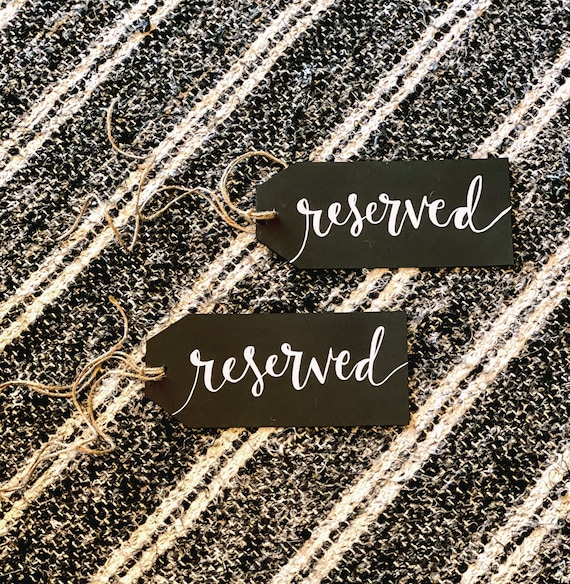 CUSTOM CALLIGRAPHY Cardstock Gift Tags/Reserved Seating Tags / Name Tags / Personalized/Great for reserving wedding rows or custom gift tags