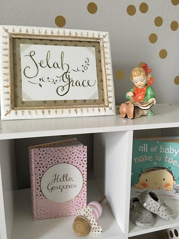 Custom Calligraphy Name Art Print - (As Seen on ProjectNursery.com) / Baby Shower / Nursery / Birth of New Baby / Birthday