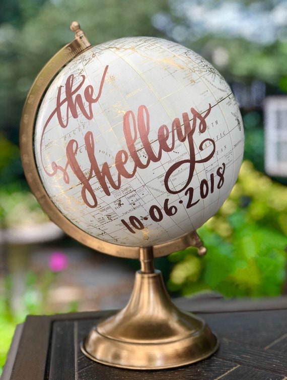 Custom Last Name Wedding Guestbook Globe / Choose Wording / Globe in White and Gold Globe or Whitewashed / Guestbook Calligraphy globe
