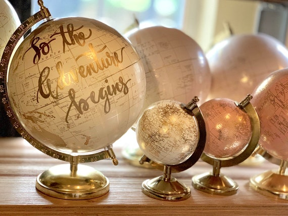 Custom White and Gold Calligraphy Globe w/shaded continents / Your Choice of Wording /  Whitewashed Options /Wedding Guestbook Globe/Nursery