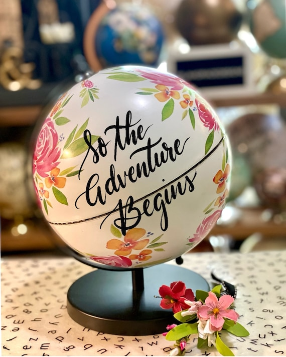 White Floral Printed Globe w/black stand - Custom Calligraphy Globe / Perfect for a Little Girls' Room or Baby Girl Shower Gift/Decor / BOHO
