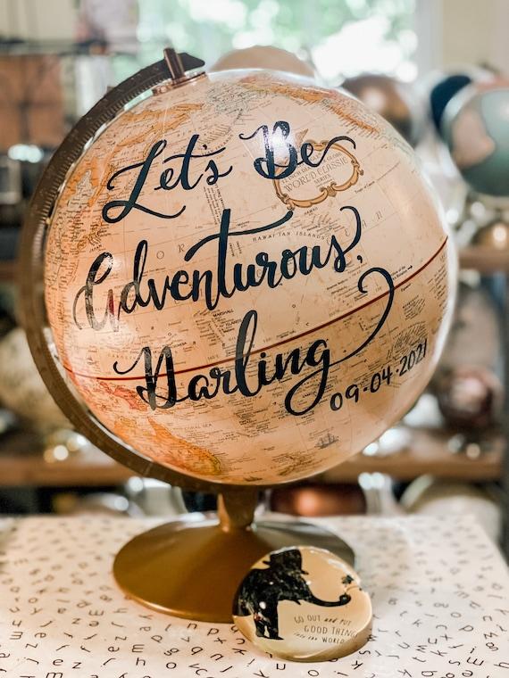 12 Inch Beige/Cream Replogle Franklin World Wedding Guestbook Globe w/Gold Stand / Custom Calligraphy / Wedding Guest Globe, Accurate Globe