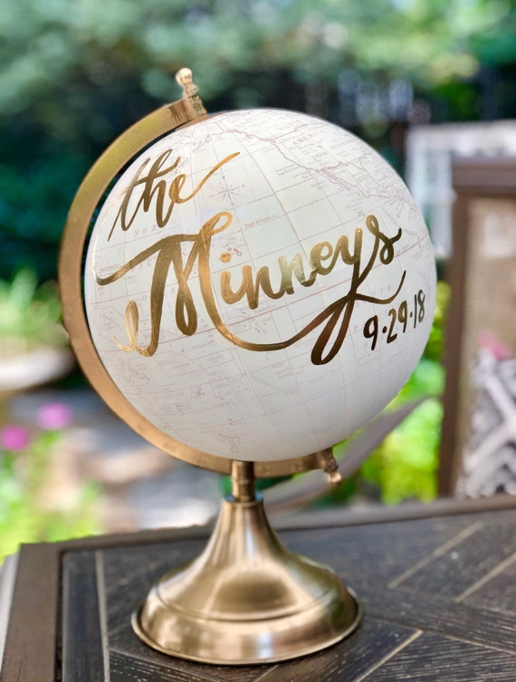 Custom Last Name Wedding Guestbook Calligraphy Globe / Choose Wording / White and Gold Globe or Whitewashed Globe / Guestbook globe/ Nursery