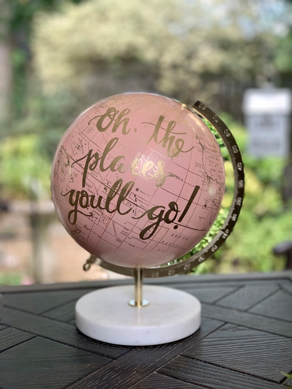BLUSH PINK Globe on Marble Stand /Travel Theme Nursery/Wedding - Blush Pink & Gold Globe w/Black, Gold, Gray other color ink/custom wording
