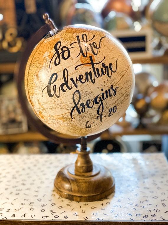 Custom Beige Calligraphy Globe w/bronze and wood stand / Your Choice of Wording / Wedding Guestbook Globe/Nursery Globe
