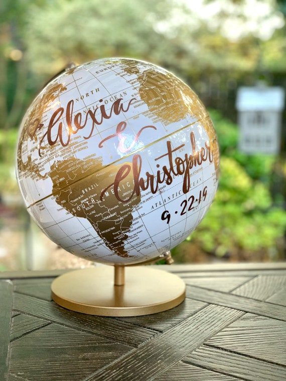 Large White and Gold 10 Inch Globe w/Gold Stand  / Guestbook Globe /Custom Calligraphy / Wedding Guestbook Globe / Custom Guestbook Globe