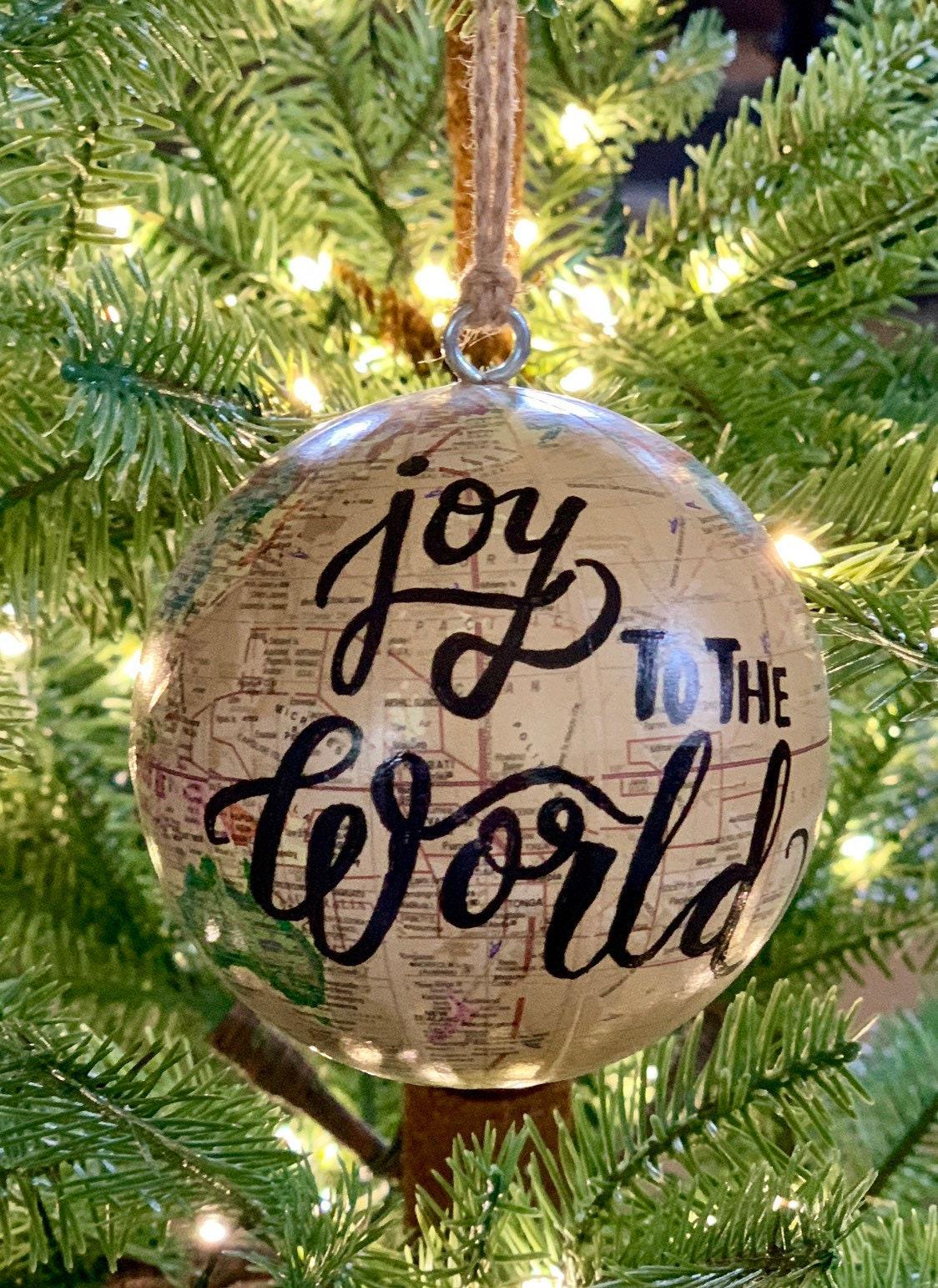 World globe Christmas Ornament - Customized w/names/saying - Perfect for Christmas gift giving ...