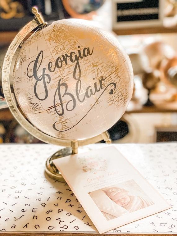 Dream Big Little One - Blush Pink & Gold Baby Girl Nursery Globe/Travel Theme Nursery / Wedding Guestbook Globe / custom wording globe