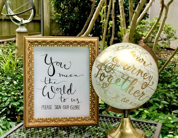 You Mean the World to Us ~ Please Sign Our Globe Art Print 5x7 or 8x10 - PRINT ONLY - (Framed print / globe in separate listings in shop)