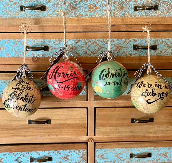 World globe Christmas Ornament - Customized- Great for Christmas gift giving or for a travel-themed Christmas tree - red/blue/green/natural