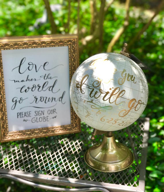 Love Makes The World Go 'Round ~ Please Sign Our Globe Chalkboard or Art Paper Print/Choice of Ink - w/o Frame