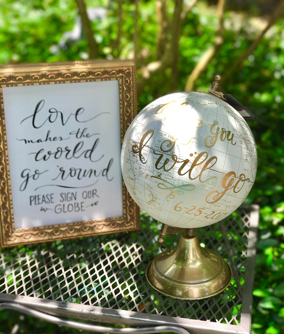Love Makes The World Go 'Round ~ Please Sign Our Globe Chalkboard or Art Paper Print/Choice of Ink - w/o Frame (Globe sold separately)
