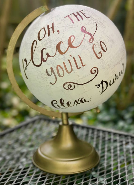 Baby's Nursery Globe/Travel theme nursery - WHITE WASHED w/Gold, Rose Gold or other color ink / custom calligraphy - Great for a baby shower