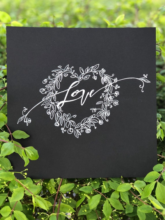 "Calligraphy ""Love"" Black Chalkboard Paper Original Art Print - 8x8 unframed with -White Ink & Chalkboard Art Paper Design"