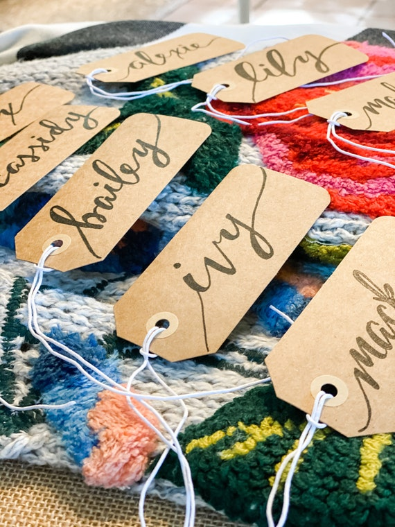CUSTOM CALLIGRAPHY Kraft Gift Tags / Name Tags / Personalized/Great for Bridal Party Gifts/ Bouquet Tags, Weddings / Christmas / Birthday