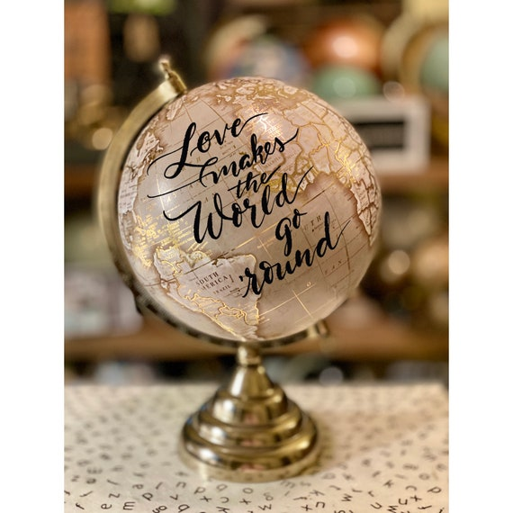 Custom Wedding Guestbook Globe / Taupe and Gold Calligraphy Globe / Choose Custom Wording / Guestbook globe / Love Makes the World Go 'Round