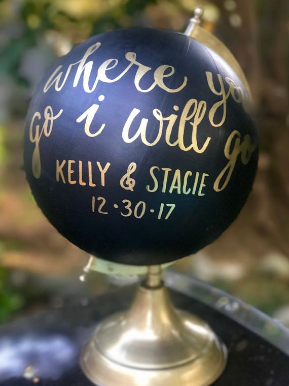 Custom Wedding Guestbook Calligraphy Globe / Black Chalkpainted Globe / Gold Calligraphy Globe / Choose Wording / Wedding Guestbook Globe