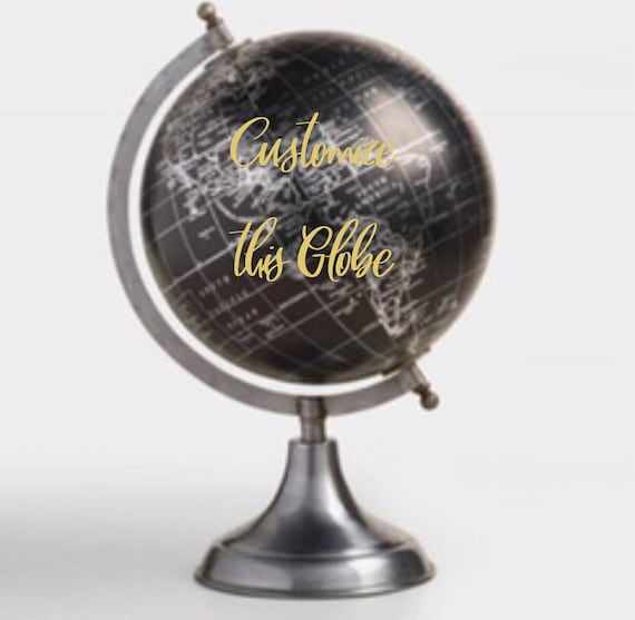Custom Calligraphy Wedding Guestbook Black Globe / silver base / silver countries - Choose Wording - Custom  / Wedding Guestbook Globe