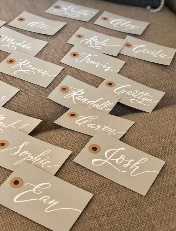 CUSTOM CALLIGRAPHY Gift Tags / Name Tags / Personalized/Great for Bridal Party Gifts/ Bouquet Tags, Weddings / Christmas / Birthday