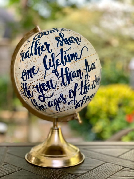 Scripture or Longer Quote Globe / Custom Calligraphy / Full scripture or other longer scripture quote /wording choice